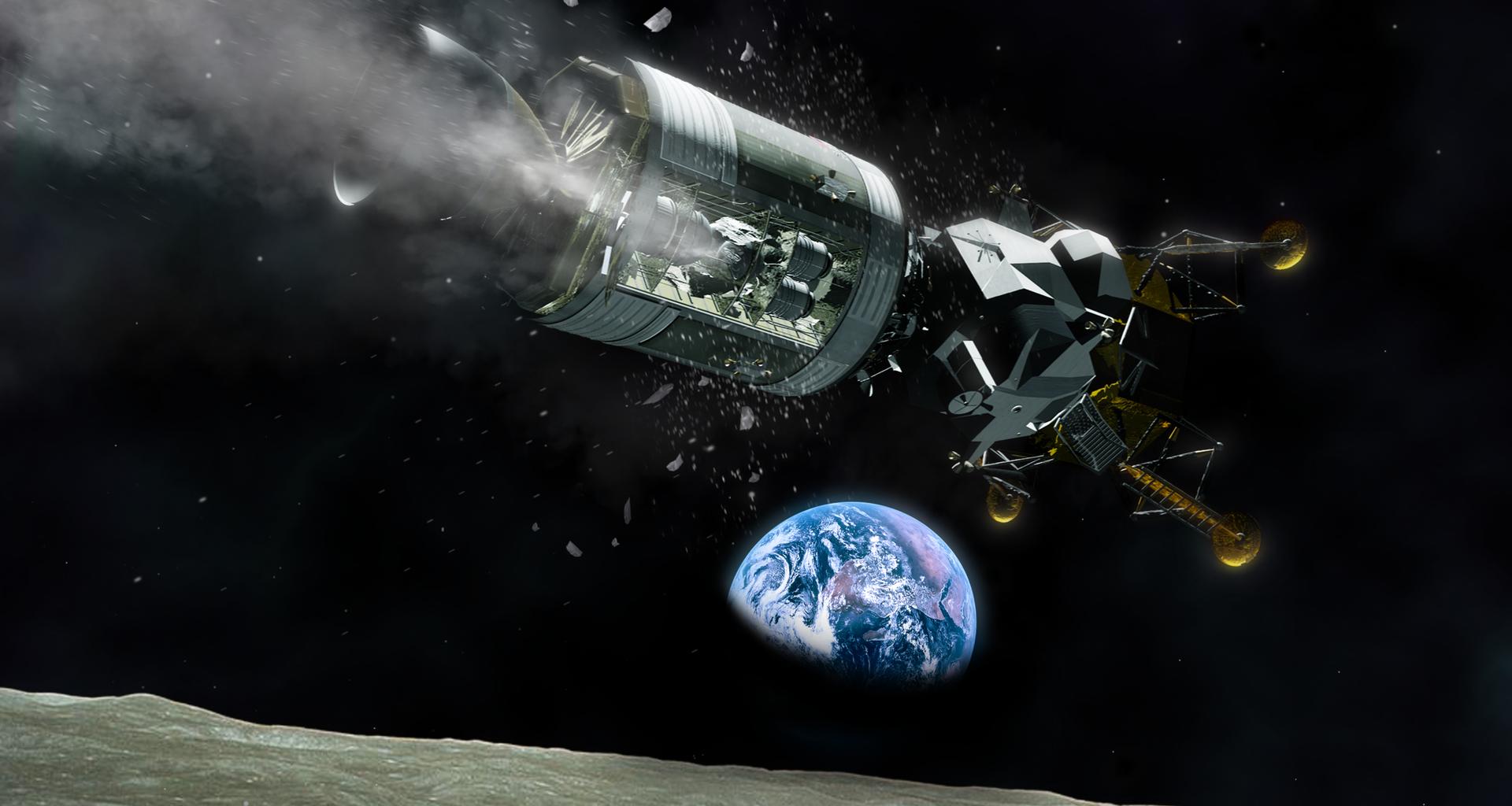 Wizualizacja Apollo 13 nad Księżycem