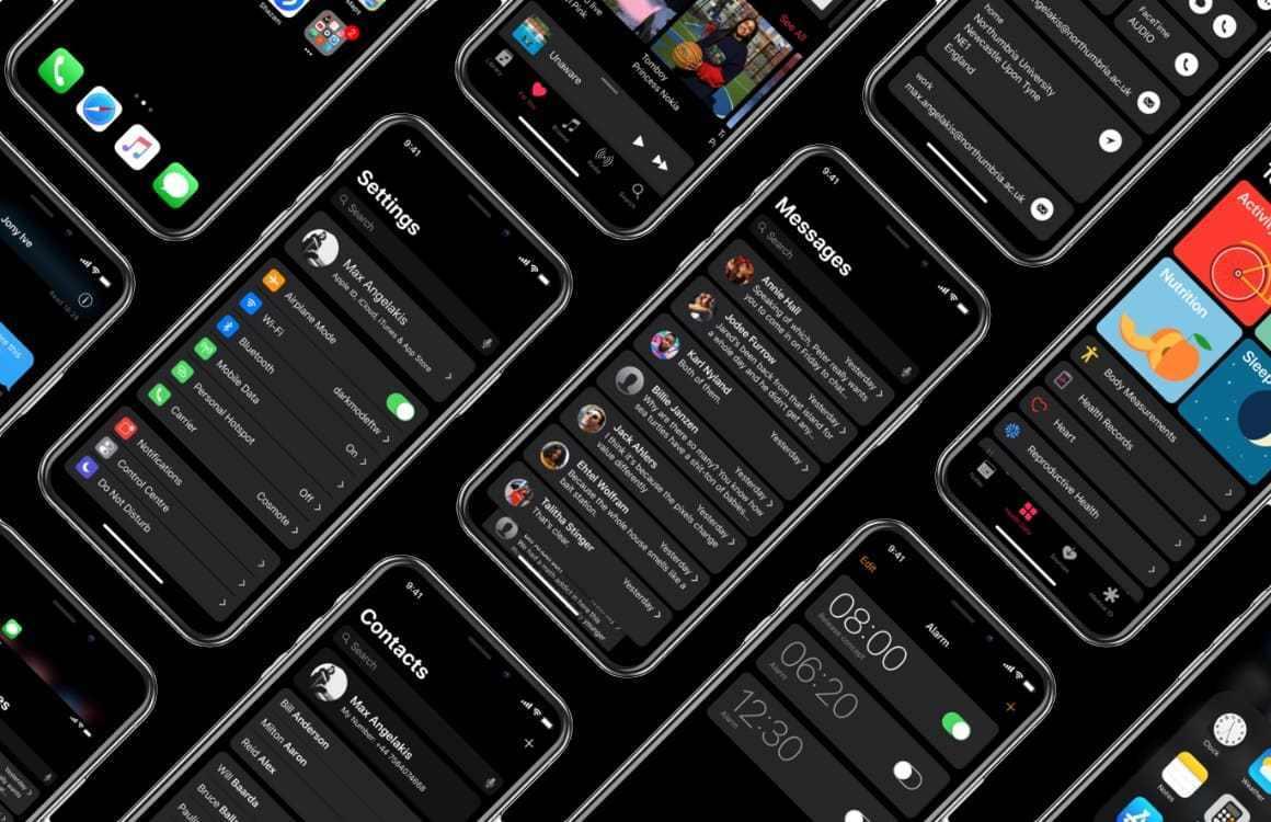 iOS 13 zmiany koncept tryb ciemny