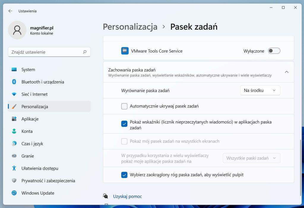Windows 11 - jak przenieść pasek zadań na lewo
