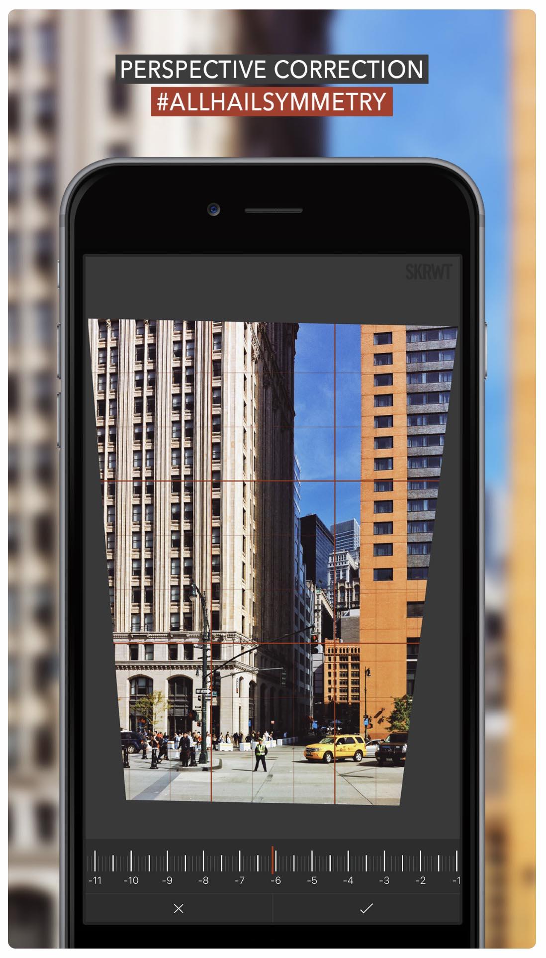 SRWT - aplikacja do korekty perspektywy, polecane aplikacje do zdjęć iPhone