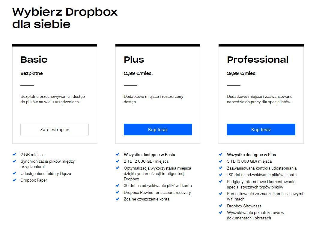 Dropbox cennik. Polecane dyski w chmurze 2019